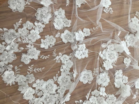 Items Similar To Ivory 3d Lace Fabric Luxury Hand Made