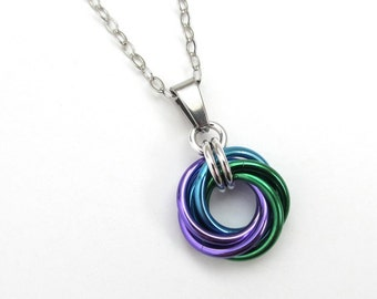 Chainmail love knot pendant, small circle necklace, purple, turquoise, and green jewelry