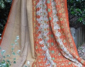 Orange kantha Kantha ,Sari throw, Sari Blanket, Kantha Blanket,  Kantha Throw, Indian Quilt, Coverlet, Ralli Quilt,Kantha