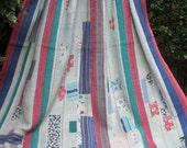 Patchwork kantha quilt, Kantha throw, Sari blanket, Indian throw, Vintage kantha quilt, Pink Sari throw, Kantha blanket,Boho throw