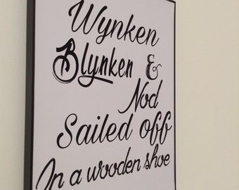 Wynken Blynken and Nod Sailed Off In a Wooden Shoe. Digital Print. Nursery Rhyme Art. Vintage Nursery. Blue Nursery Art. Eugene Field Quote