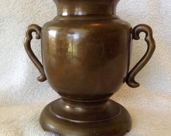 vintage bronze Japanese usubata ike ana flower vas urn c1940 handled tri footed