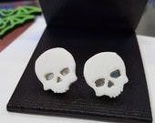 Skull Earrings 3D Printed Poison Evil Halloween Skeleton Studs