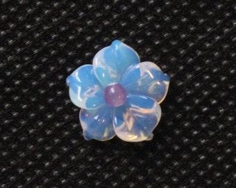 "Opalite Moonstone ""Carved"" Glass Flower Bead"