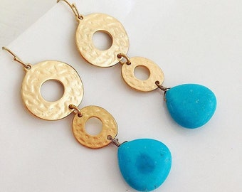 Turquoise ans Gold Geometric Earrings