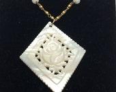 Vintage Carved SHELL Flower Pendant, floral figural, gold tone necklace, Item No. B333