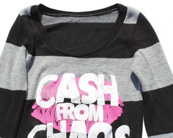 CASH From CHAOS - Punk Sweater Dress-  Womens tight fitted jumper - striped - retro- screenprint - long sleeve-winter fashion-slogan