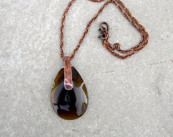Agate and Copper Necklace Statement Necklace