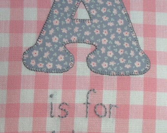Personalised cushion/pillow, Tilda grey floral and Laura Ashley pink gingham. Applique initial, hand-embroidered name.