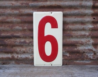 Huge Number 9 Sign or 6 Sign Vintage Metal Number Sign 10x19 Inches Price Sign Gas Station Number Off White Red Distressed Aged Patina