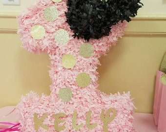 Personalized Minnie pink and Gold Piñata