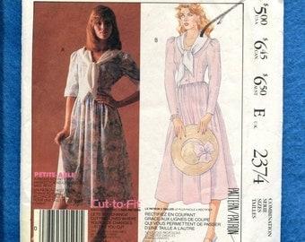 Vintage 1980's McCalls 2374 Laura Ashley Princess Seam Bodice Dress with Scarf Neckline Size 6..8..10 UNCUT