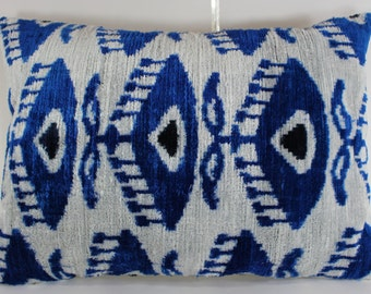 Silk Velvet Ikat Pillow Cover Lp318, Bohemian pillow, Velvet Ikat Pillow, Velvet Pillow