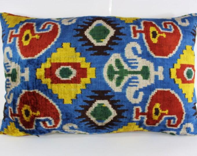 Silk Velvet Ikat Pillow Cover Lp304, Bohemian pillow, Velvet Ikat Pillow, Velvet Pillow