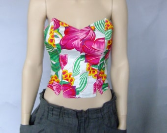 floral tube top, floral bustier, strapless top, 80s vintage top, summer top, flowered strapless top