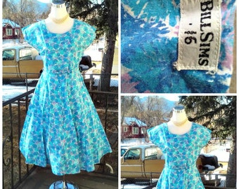 Vintage 1950s 50s Blue Day Dress Belt Novelty Print Rockabilly VLV  Medium M UNWORN