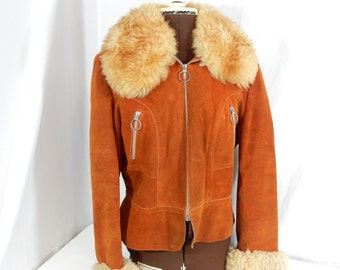 Orange Suede Ladies Jacket with lambs wool trim, by Karol Mjunior, quilted, lined, coat, size medium, Made in Canada