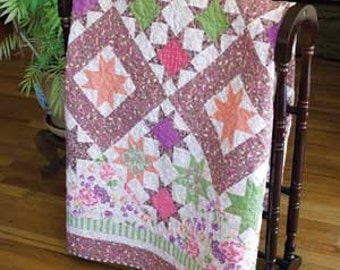 Sherbet  Stars Quilt Pattern.  Yummy pastels all mixed together! BEGINNER FRIENDLY! Pattern only 2.99