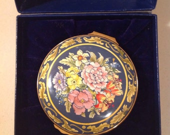 Halcyon Days Enamels, Floral Emamel Trinket Box, in Original Box, Blston & Battersea, made in England