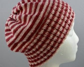 Striped Slouchy Hat, Candy Cane Beanie, Slouchy Beanie, Red, White and Pink Stripes, Light Weight Wool Hat, Gender Neutral, Striped Cap