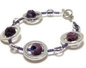 Purple Silver Circles Strand Bracelet - Women's Jewelry - Gifts Under 25