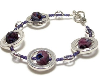Purple Silver Circles Strand Bracelet - Women's Jewelry - Gifts Under 25