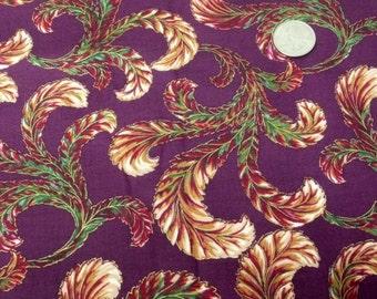 Hoffman International Fabrics, Maroon, Purple, Plum, Feathers, Plumes