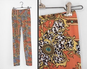 Paisley Chainlink LEGGINGS Orange Turquoise Silky Spandex One Size