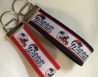 "4"" or 5.25"" New England Patriots Football keychain wristlet key fob"