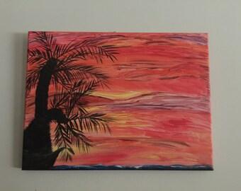 Seaside Horse Painting, acrylic