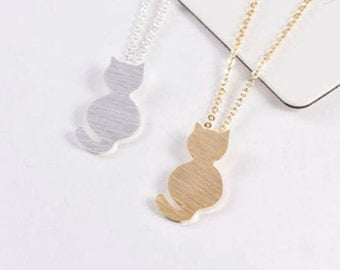 kitty CAT silver necklace.  cat's MEOW card.  cute animal charm.  Even cuter affirmation card.  Rar!