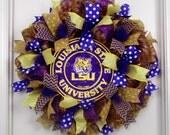 Mesh Wreath LSU, Geaux Tigers Wreath, Football Wreath, Sports Wreaths, LSU Logo, College Football