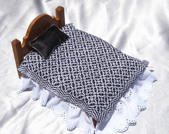Dollhouse Coverlet Miniature Handwoven Coverlet Black Periwinkle Coverlet 12th Scale Dollhouse Blanket Small Doll Bedding Black Coverlet