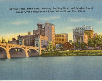 Linen Postcard, Wilkes-Barre, Pennsylvania, Skyline from Kirby Park over River