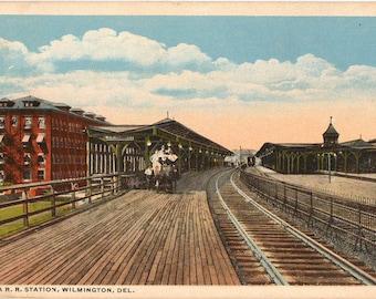 Vintage Postcard, Wilmington, Delaware, Pennsylvania Railroad Station, 1915
