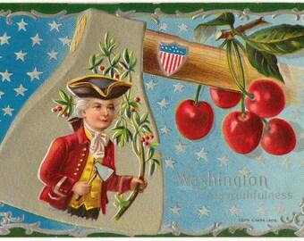 Vintage postcard, George Washington, Flags, Hatchet and Cherry Tree, 1910