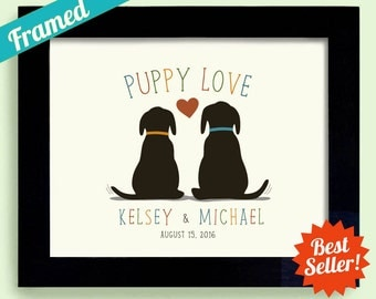 Dog Lovers Wedding Puppy Love Personalized Bridal Shower Unique Engagement Gift Idea Framed Gift Art Print Couples Gift Newlyweds Gift