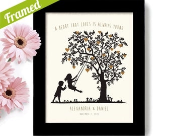 Personalized Wedding Gift Heart Tree Young at Heart Unique Engagement Gift Anniversary Gift for Couples Engagement gifts Romantic Gift