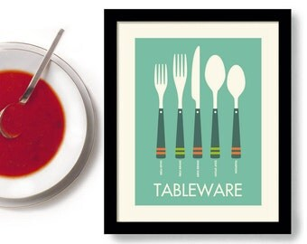 Kitchen Art Print Mid Century Modern Silverware Fork and Spoon Tableware Place Setting Mint Green Table Setting Kitchen Decor Set a Table