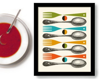 Kitchen Art Print Mid Century Modern Decor Colorful Cooking Art Gift Vintage Spoon