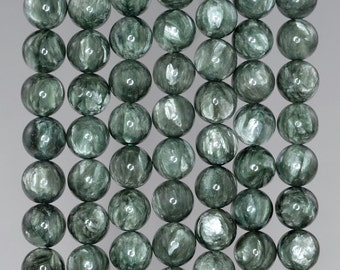 8mm Russian Seraphinite Gemstone Grade AAA Green Round Loose Beads 15.5 inch Full Strand (90183261-368)