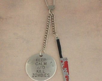 Keep Calm And Kill Zombies Bloody Knife Keychain Keyring For The Walking Dead Zombie Apocalypse - Men's Unisex Zombie Hunter Accessories