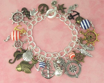 Nautical Theme Charm Bracelet - Vintage Inspired - Retro Rockabilly Pinup Bracelet - Mermaid Seahorse Anchor Jewellery