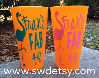 Personalized Party Cups, Fab 40, Customizable Party Cups, Birthday, Dirty 30, Party Favor, SET OF 4