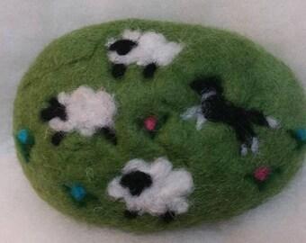 Felted Soap Sheep &, Border Collie, Black White, Spring Decor, Lamb, Farm Animals, Herd Dogs