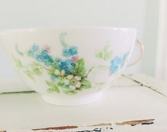 Forget Me Nots and Magnolias~ 2 Limoges France Blue Floral Teacups