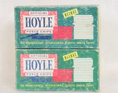 Official Hoyle Poker Chips Deluxe // Red White and Blue Poker Chips // Vintage // Card Games // Gambling // Gaming // 200 Chips  // Two Sets