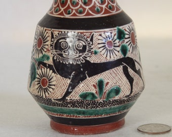 Vintage Petatillo Vase by Bernabe Campechano Jesus Jose Berabe Tolana Jalisco Mexico Mexican Pottery Signed Vase with Lion and Flowers