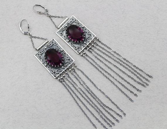 Chain earrings rectangular earrings burgundy earrings antique earrings Garnet jewelry Quartz Rhodolite Red Boho Earrings Sterling Silver