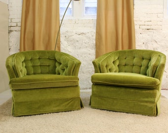 Mid Century Modern, danish, retro, vintage 1950's upholstered pair of club chairs